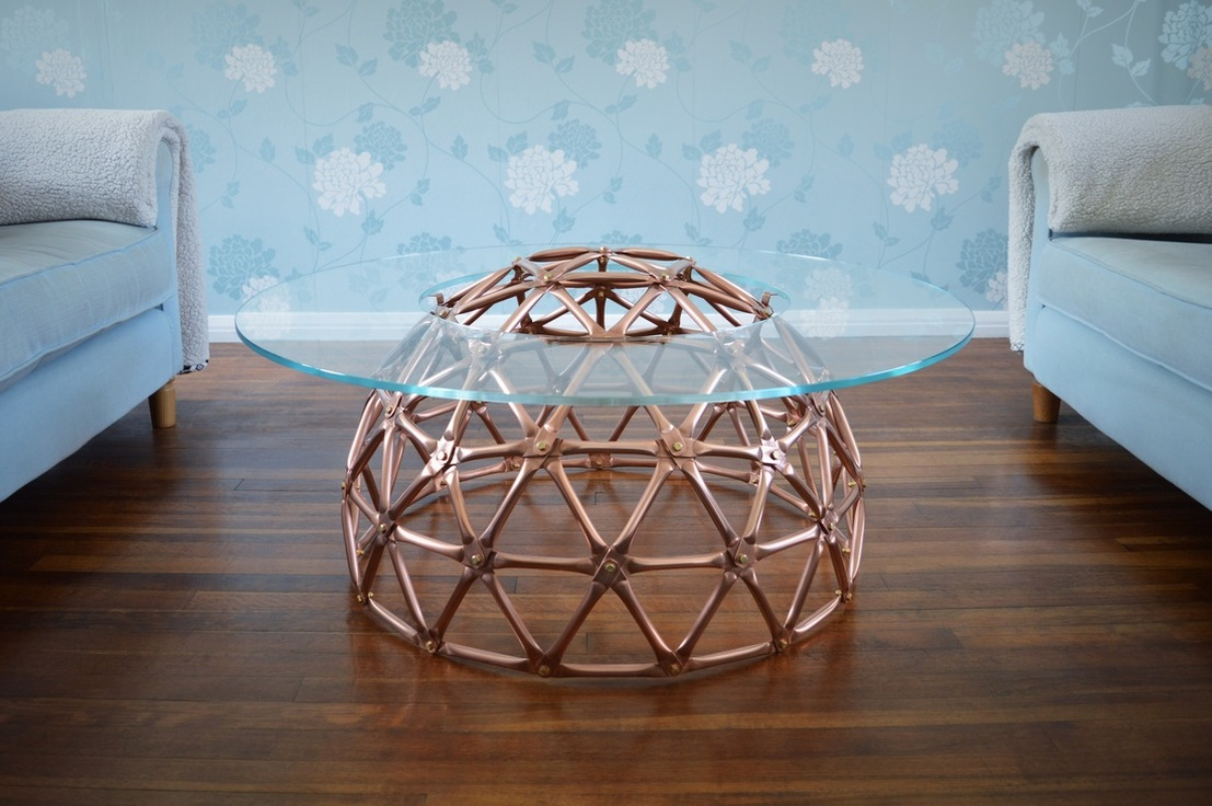Copper Geodesic Dome Table by Connor Holland