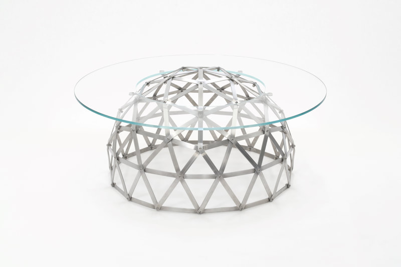 Geodesic Dome Table in aluminium by Connor Holland